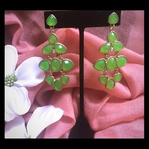 Jewelry - Fun chandelier earrings!  Lime green and gold